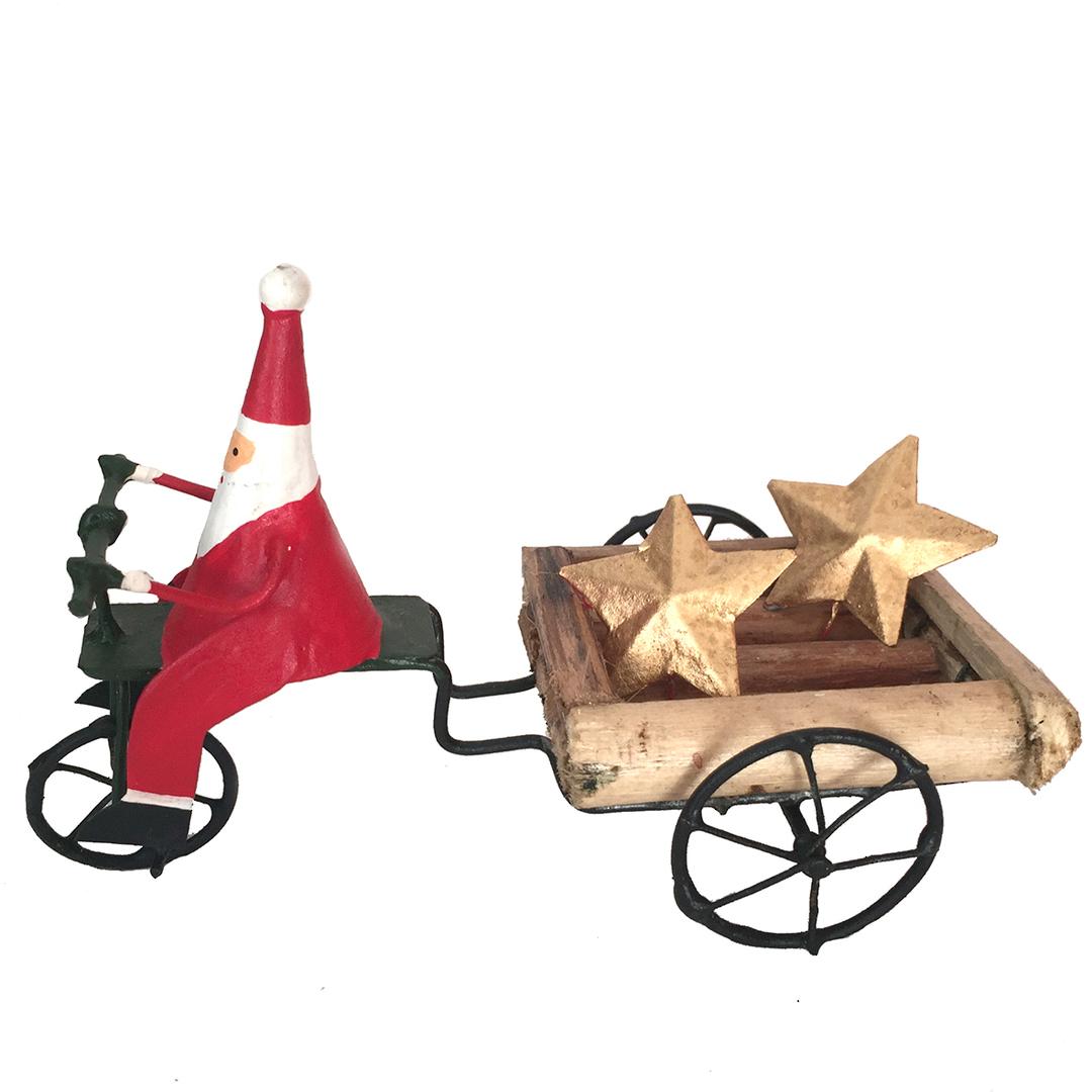 Tin Santa on Cart Delivering Stars to Good People 18cm image 0