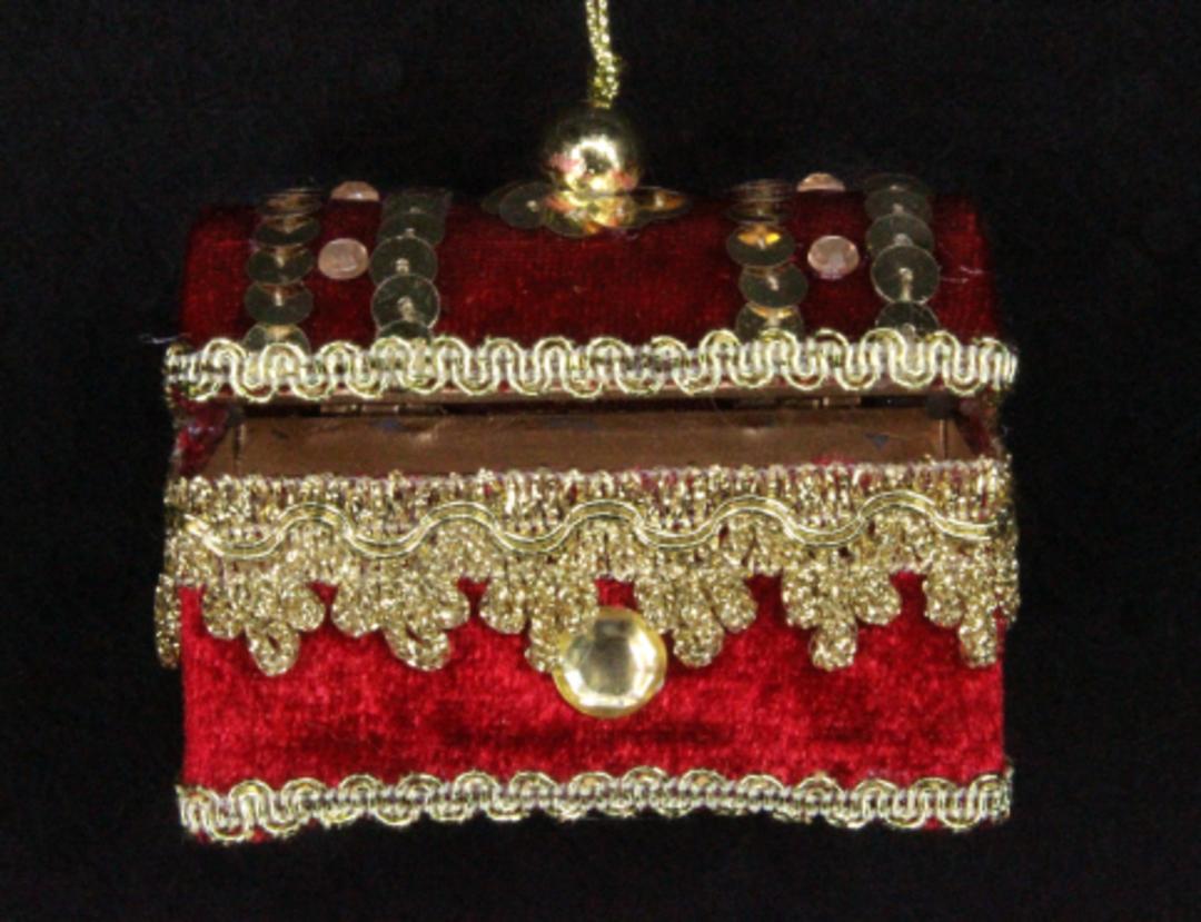 Hanging Red Velvet & Jewelled Treasure Chest image 0