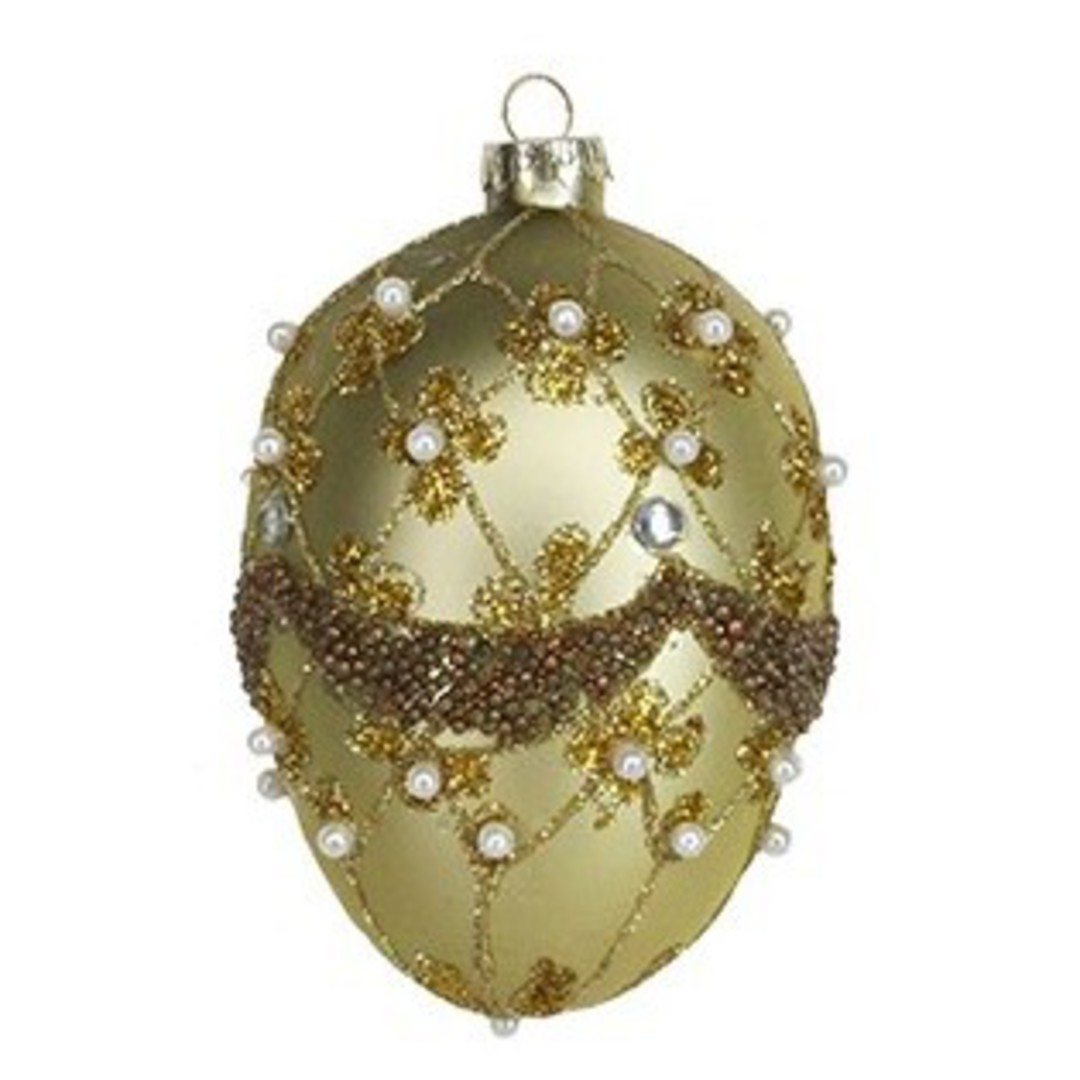 Glass Faberge Egg, Gold 10cm image 0
