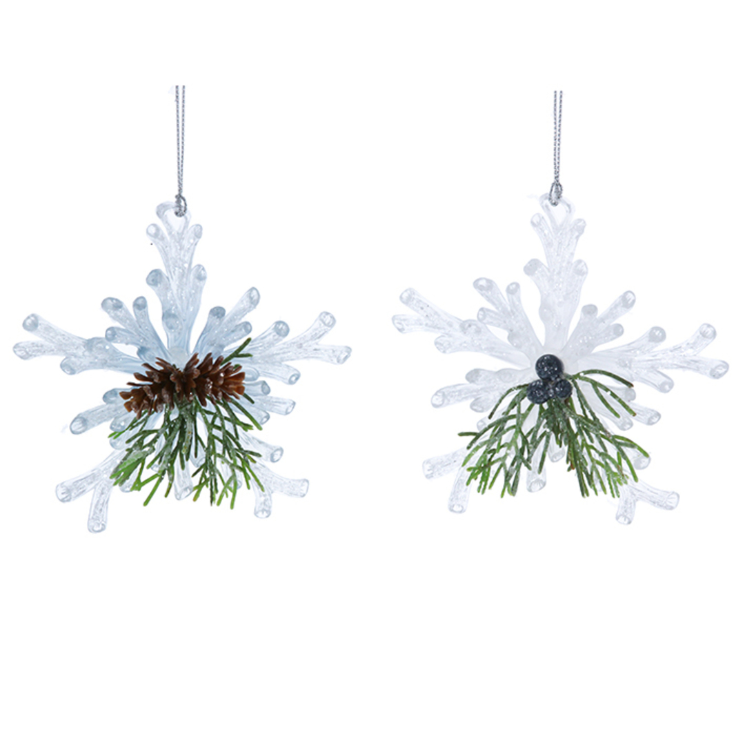Acrylic White Snowflake with Fir 11cm image 0