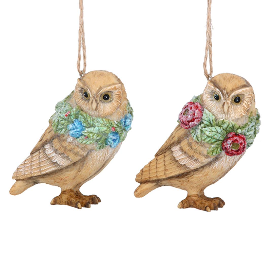 Resin Flower Owl 7cm image 0