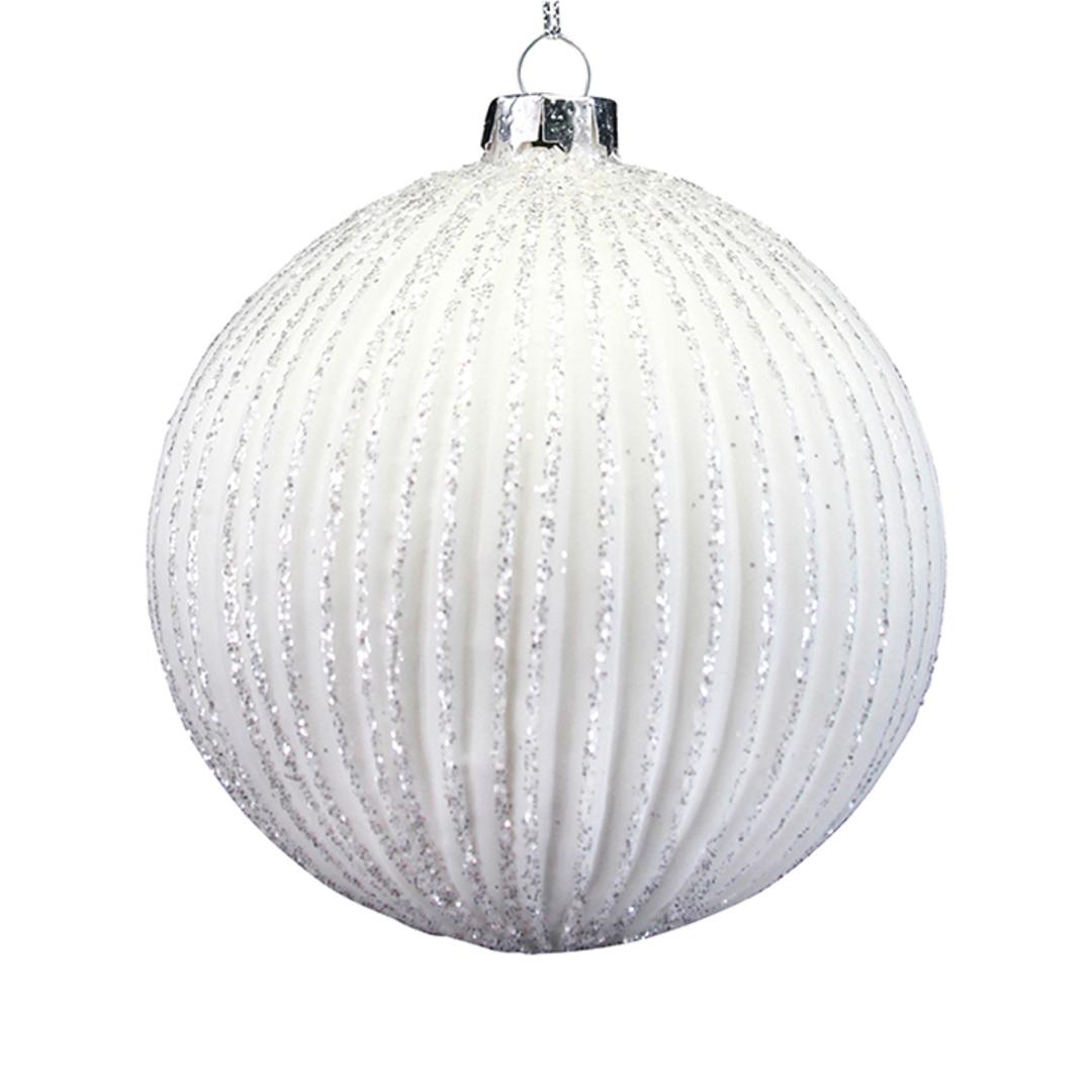 Glass Ball Matt White, Glittered Ribbed 8cm image 0