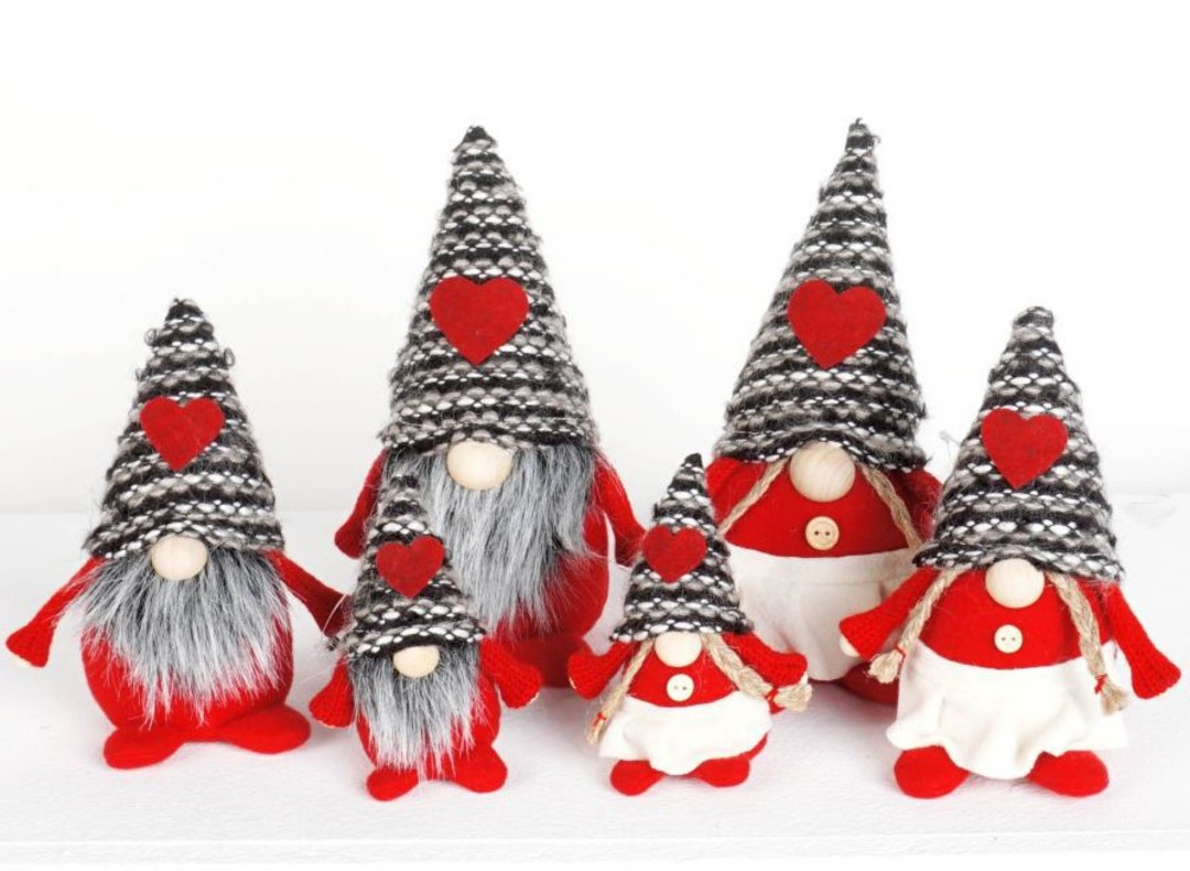 Mini Wooly Grey Stripe Hat Gnome image 0