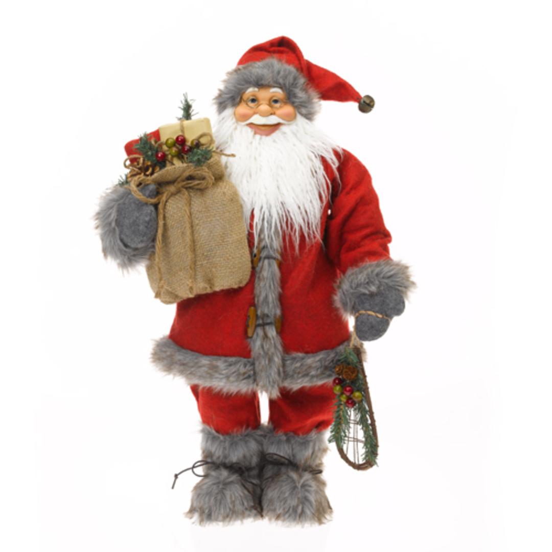 Santa Red Coat & Grey Fur Trim image 0