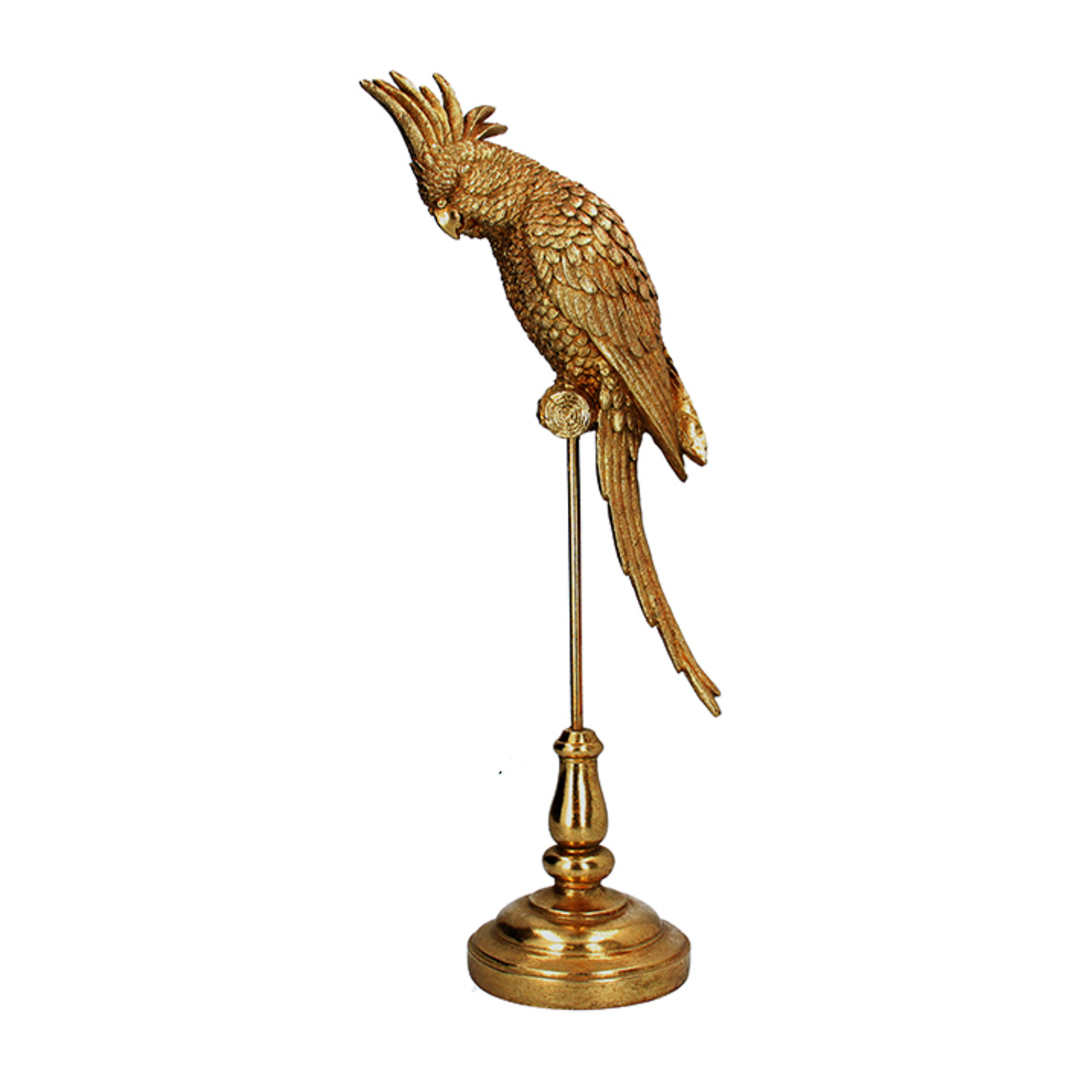 Acrylic Gold Parrot on Stand 48cm image 0