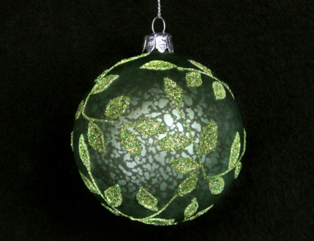 Glass Ball Matt Green, Beaded Leaves 8cm image 0