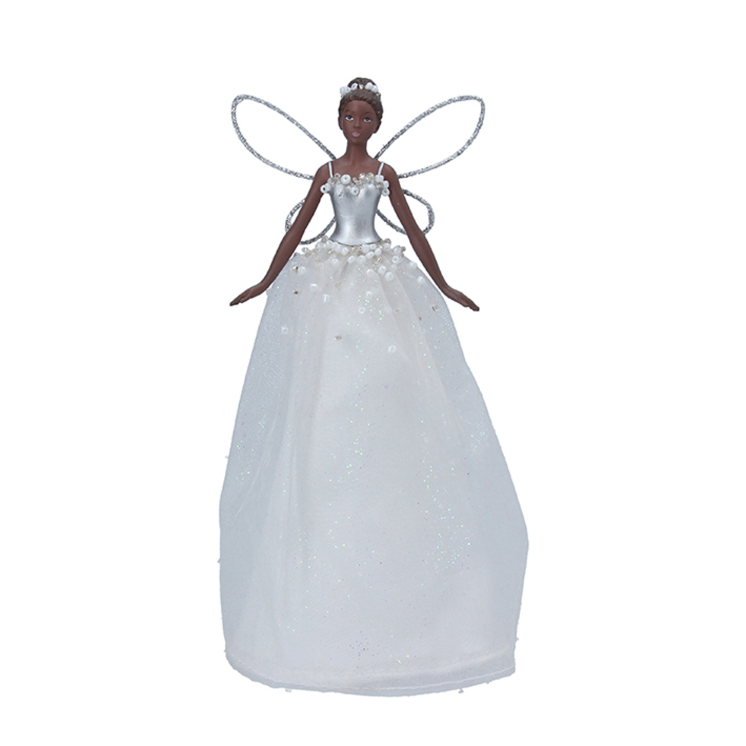 Resin Fabric White Fairy Topper 18cm image 0