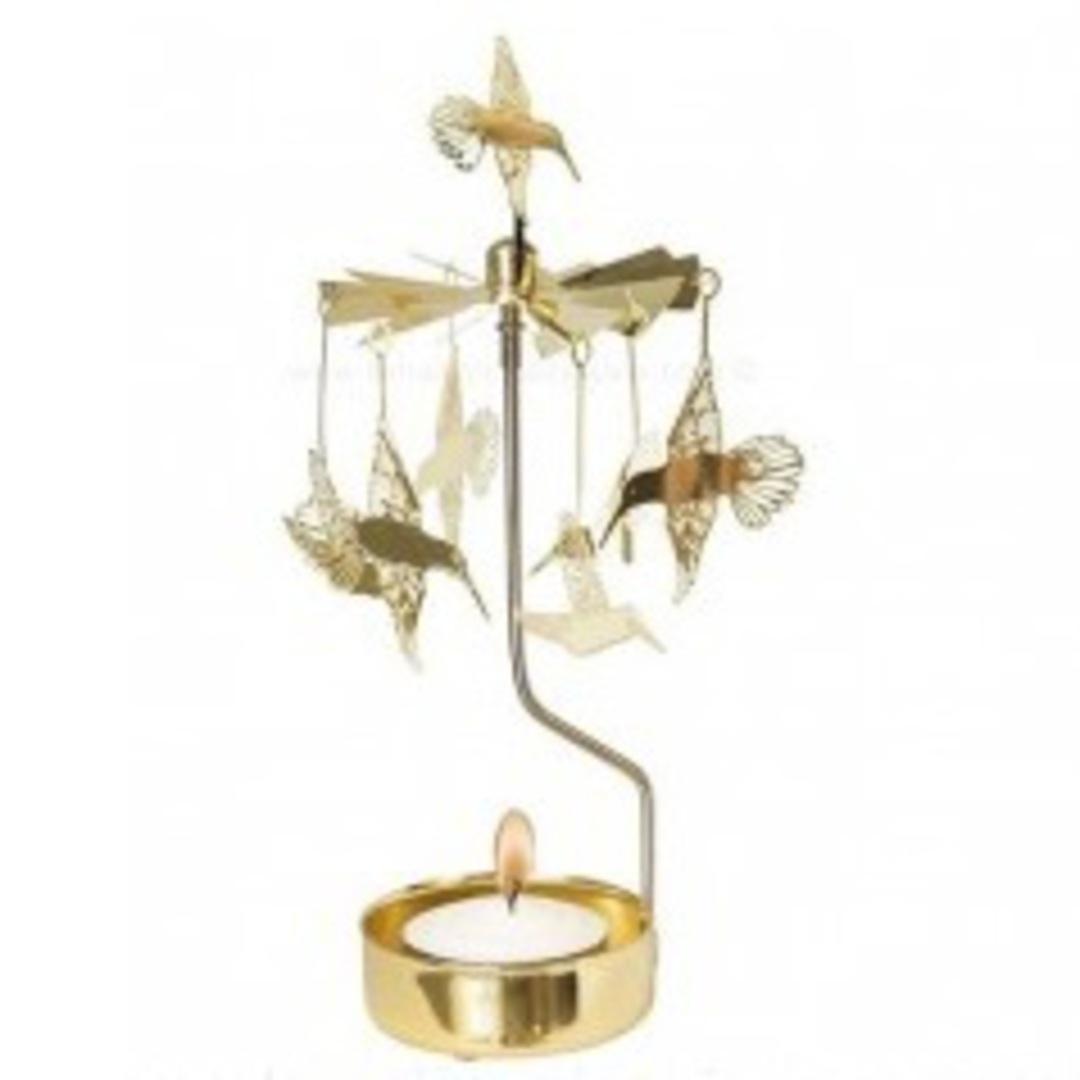 Rotary Candle Holder Hummingbird, Gold image 0