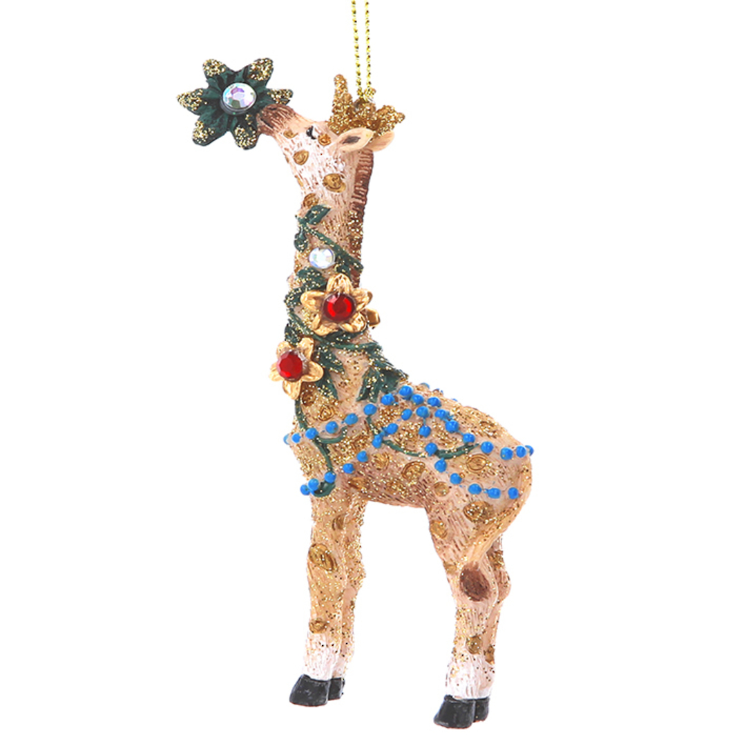 Resin Giraffe with Flower 11cm image 0