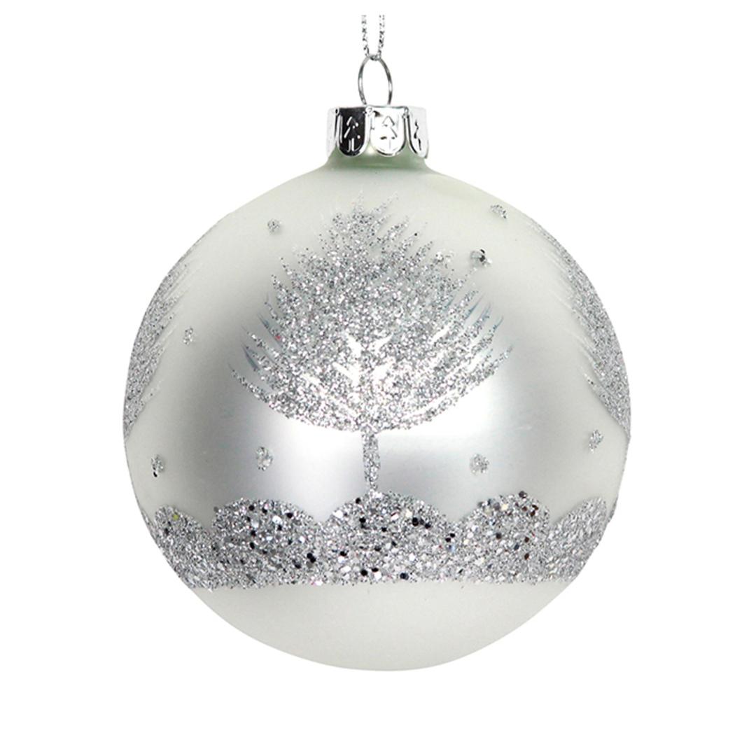 Glass Ball White, Glitter Sliver Tree 8cm image 0