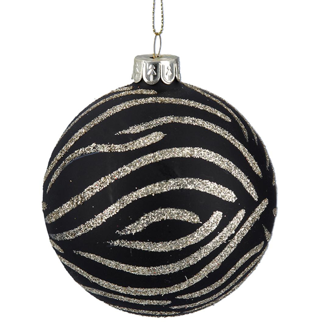 Glass Ball Matt Black, Zebra Print 8cm image 0