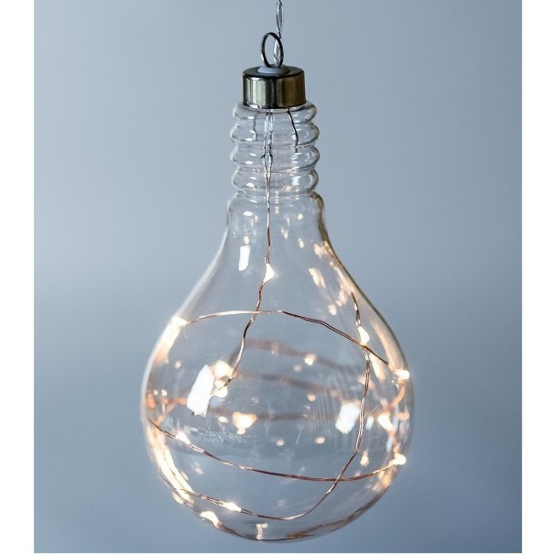 Twinkle Glass Light Bulb, Clear 14cm image 0