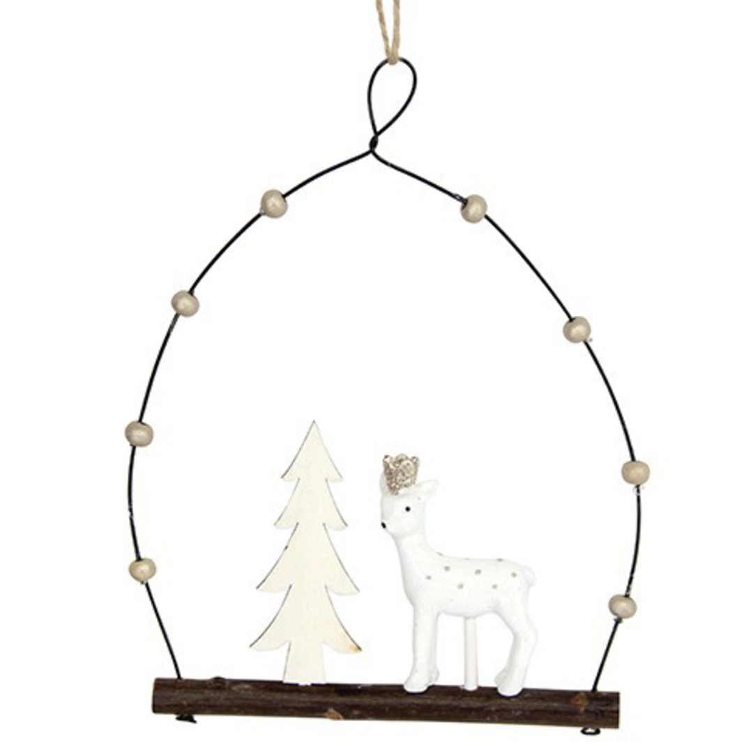 Resin White Deer and Tree in Wire Loop image 0