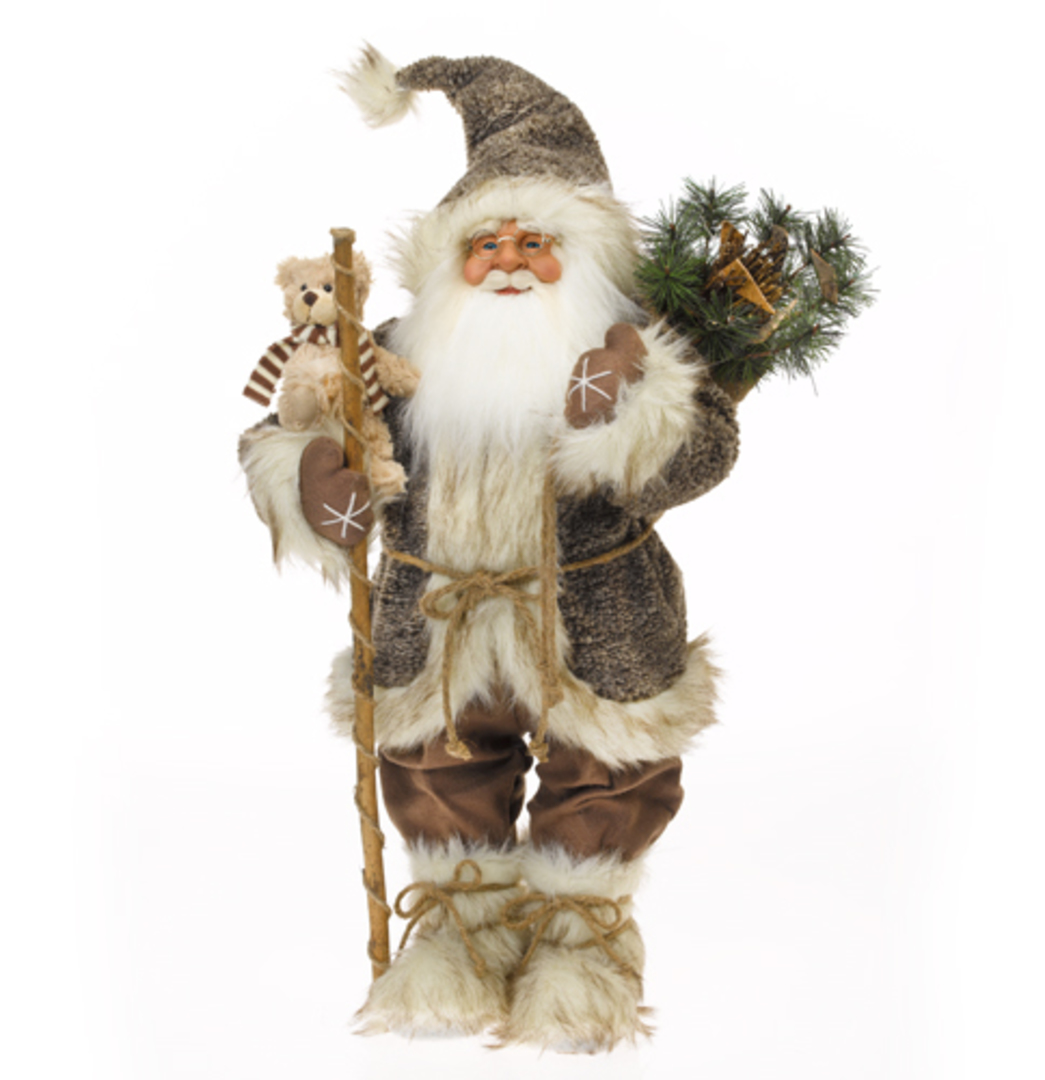 Santa Brown Coat, White Fur Trim w/Teddy image 0