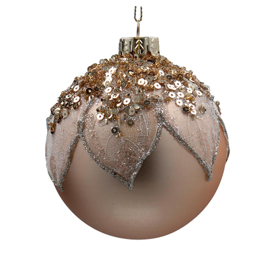 Glass Ball Matt Gold, Mesh Leaf 8cm image 0