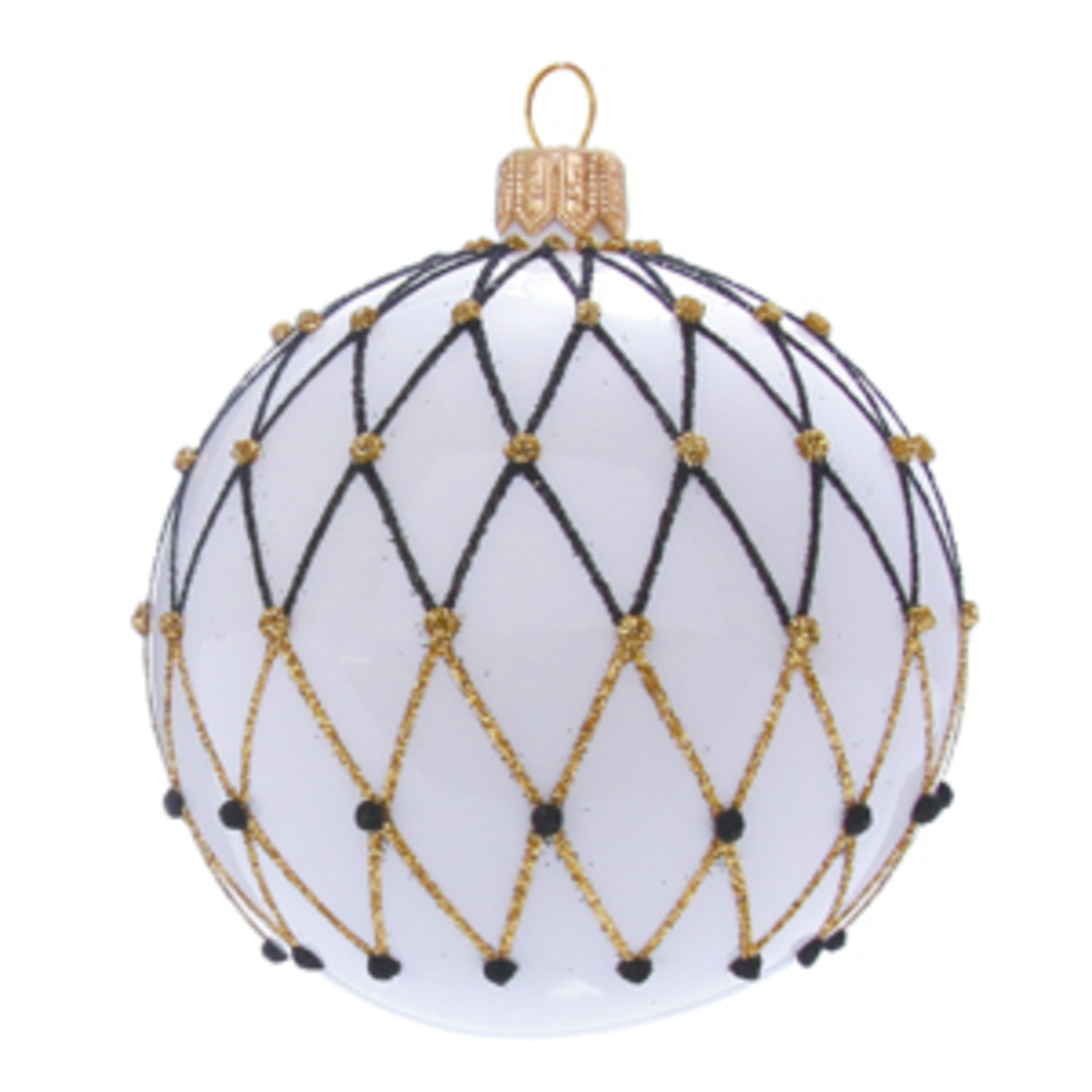 Glass Ball White, Black and Gold Lattice 6cm image 0