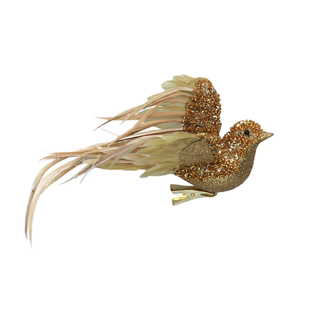 BirdClip Gold Glitter Feather Flying 22cm image 0