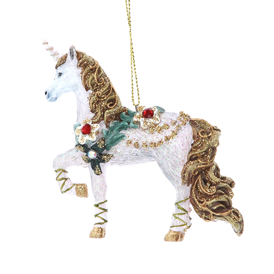 Resin Unicorn with Flower 10cm image 0