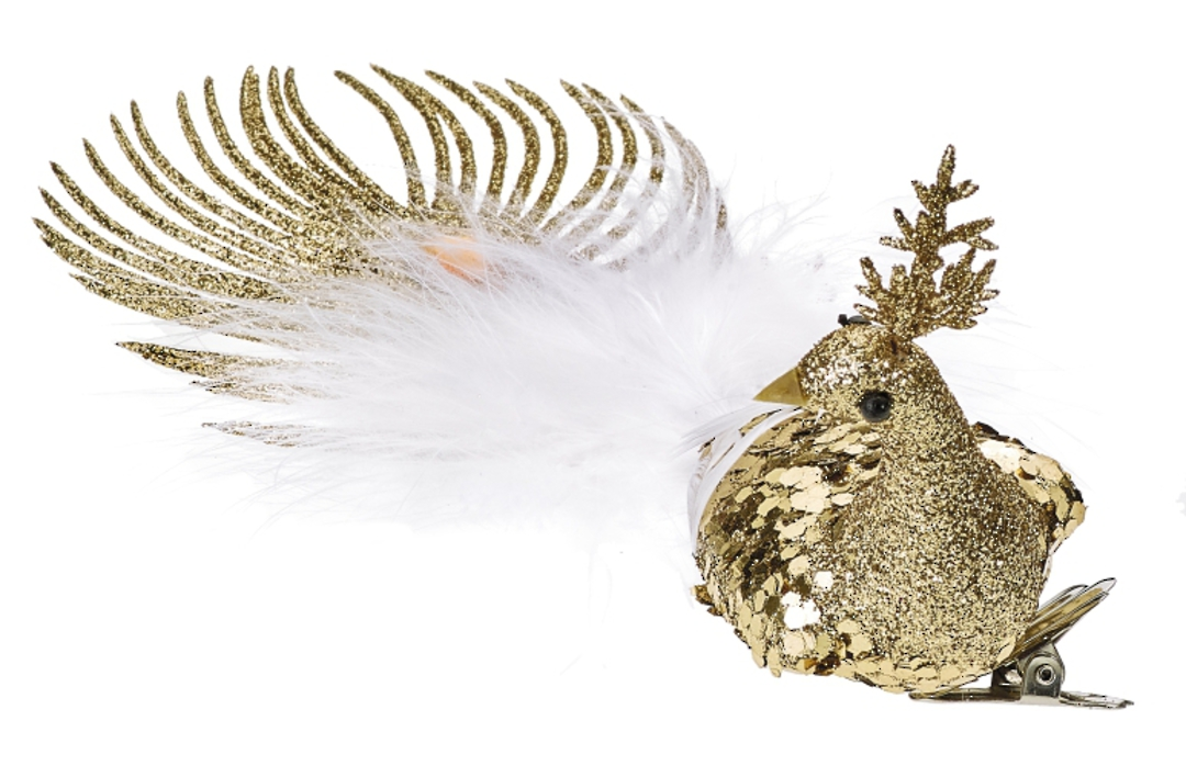 BirdClip Gold Glitter with White Feather Tail 21cm image 0