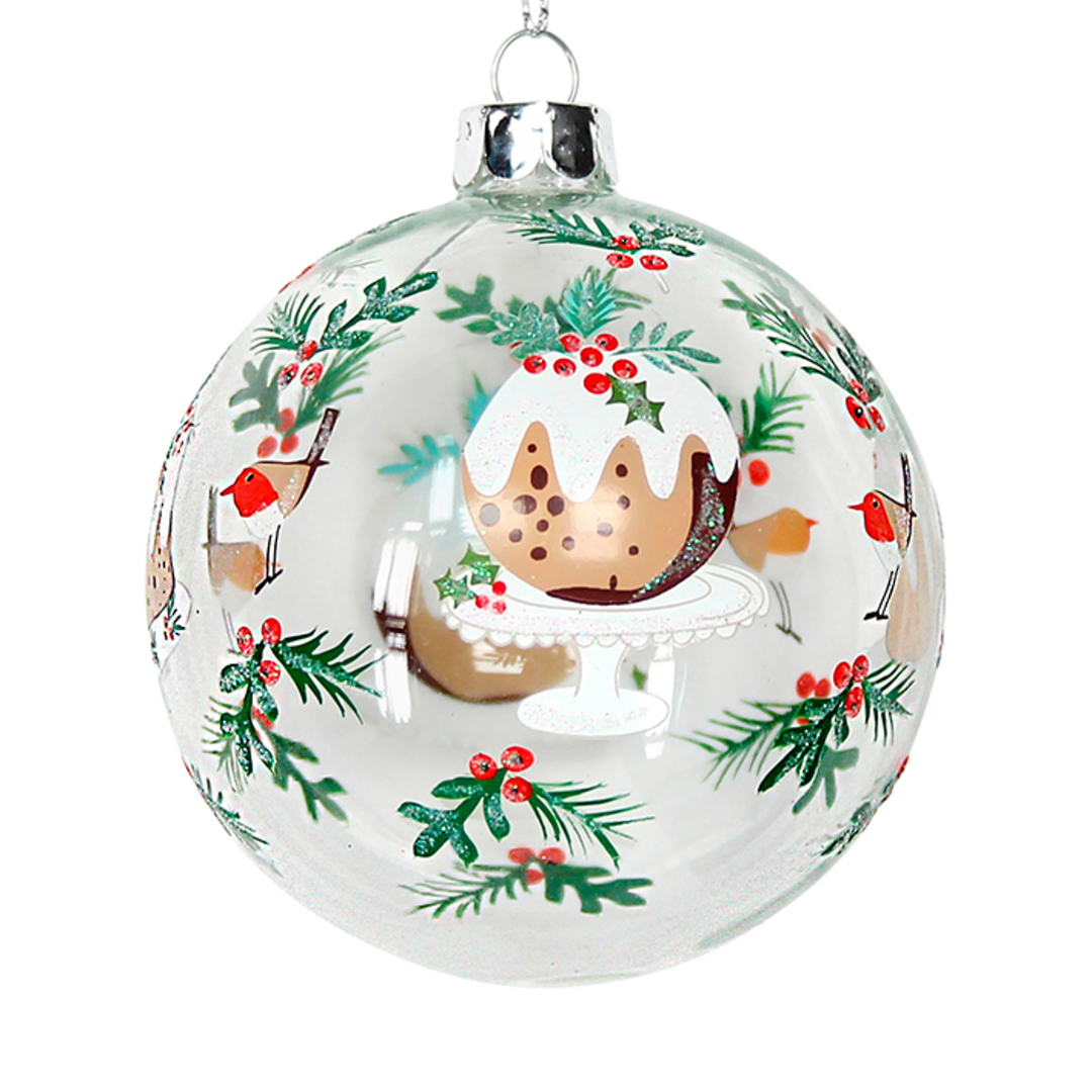 Glass Ball Clear, Xmas Pudding and Holly 8cm image 0