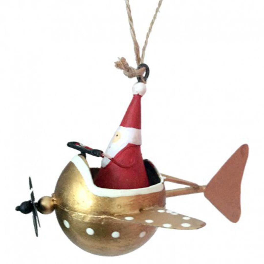 Tin Santa In Gold Mini Plane image 0