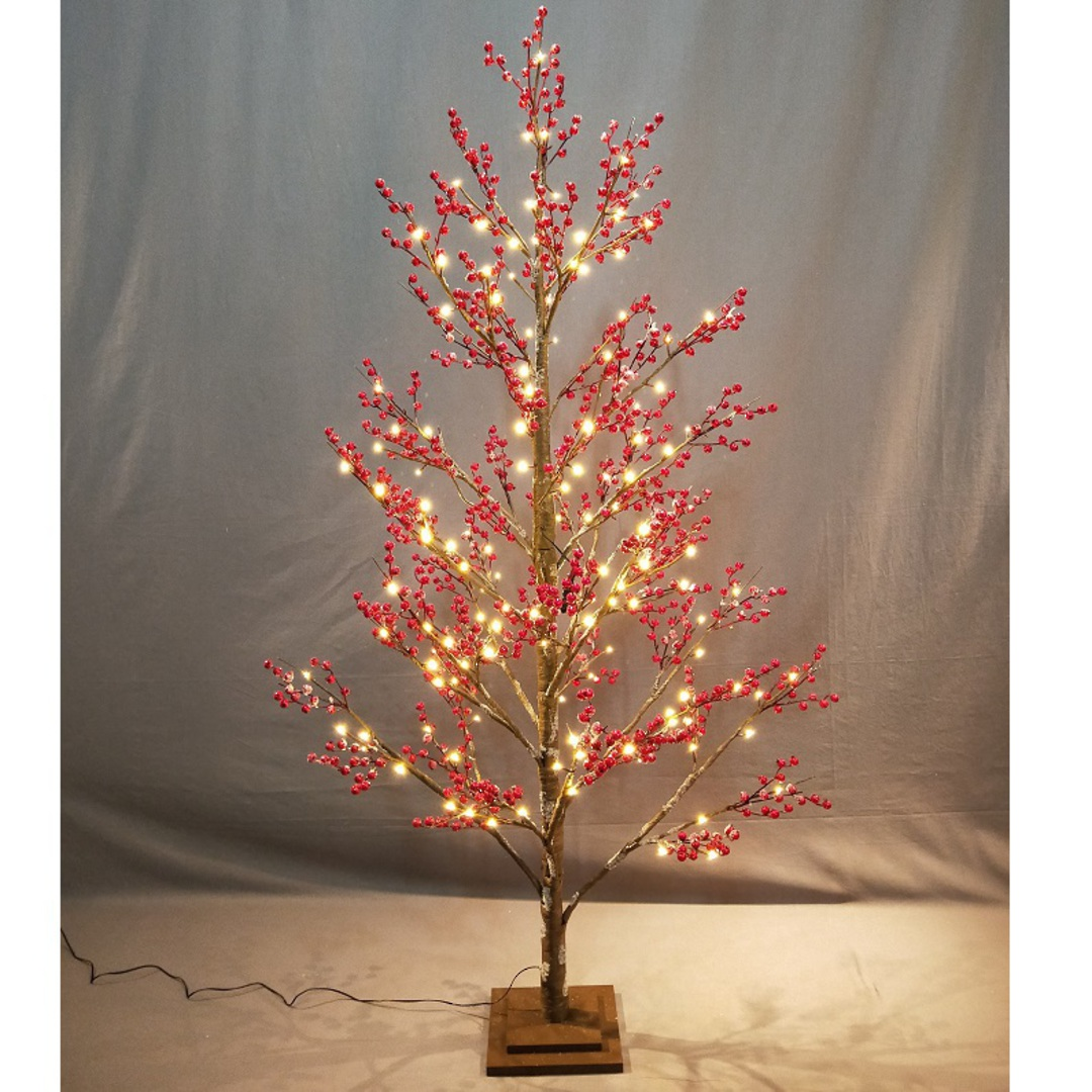 Red Berry Tree 1.8mtr, 168 LED Lights image 0