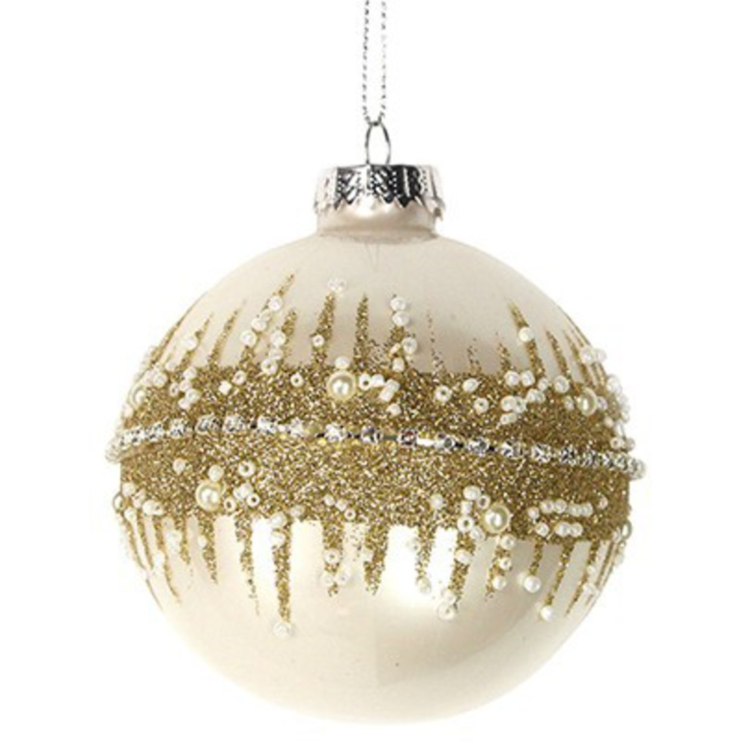 Glass Ball Matt Cream, Gold Glitter 8cm image 0