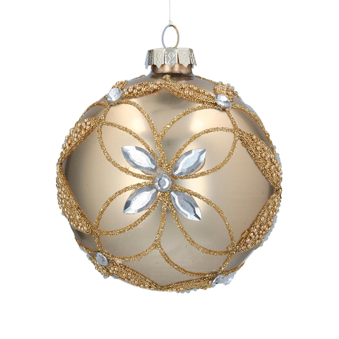 Glass Ball Matt Gold, Bead Diamond Flower 8cm image 0