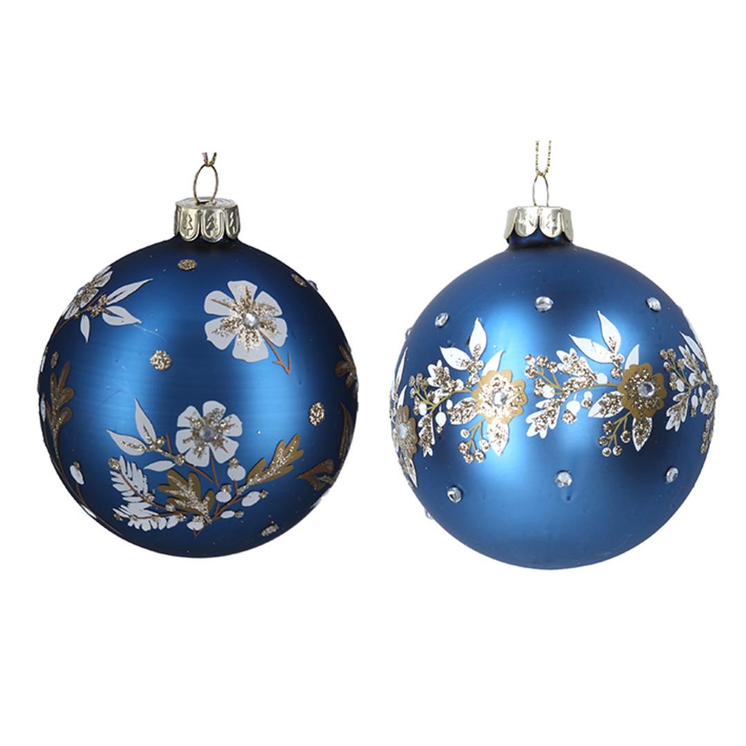 Glass Ball Matt Blue, White Flowers 8cm image 0