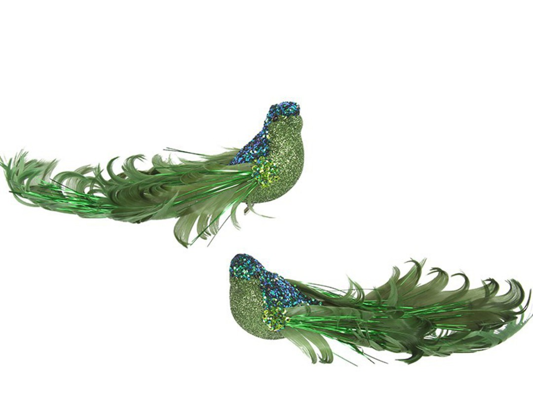 Clip, Green Glitter & Curly Feather Bird 14cm image 0