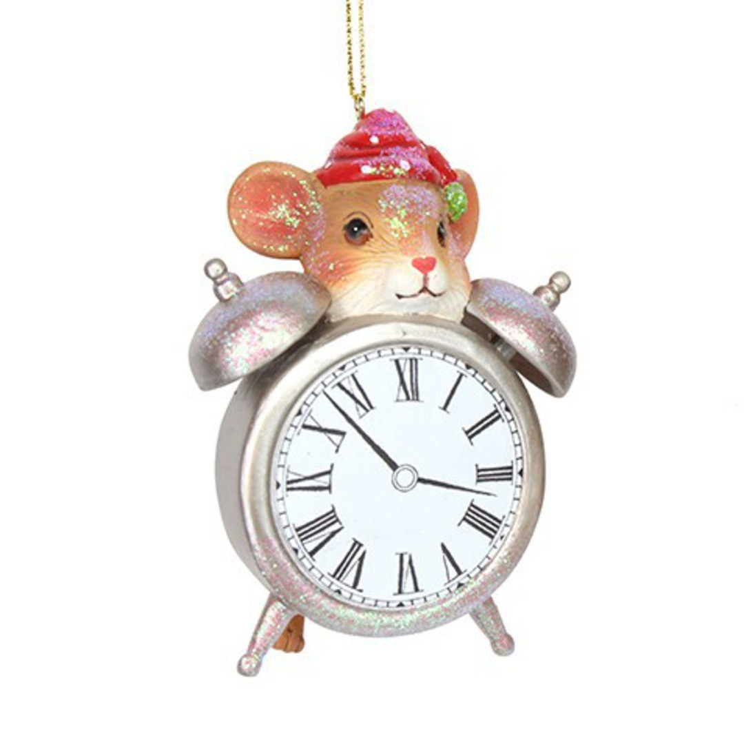 Resin Mouse with Alarm Clock 11cm image 0
