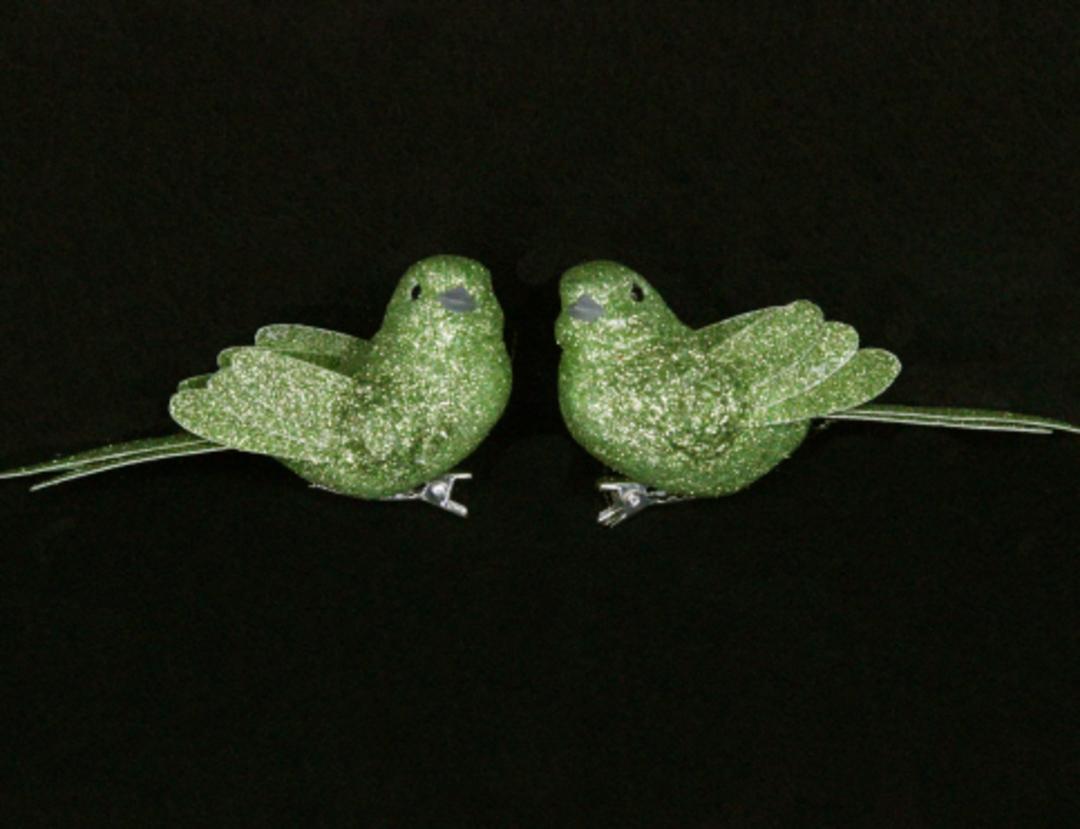 Lime Green Glitter Bird Clip 7cm image 0