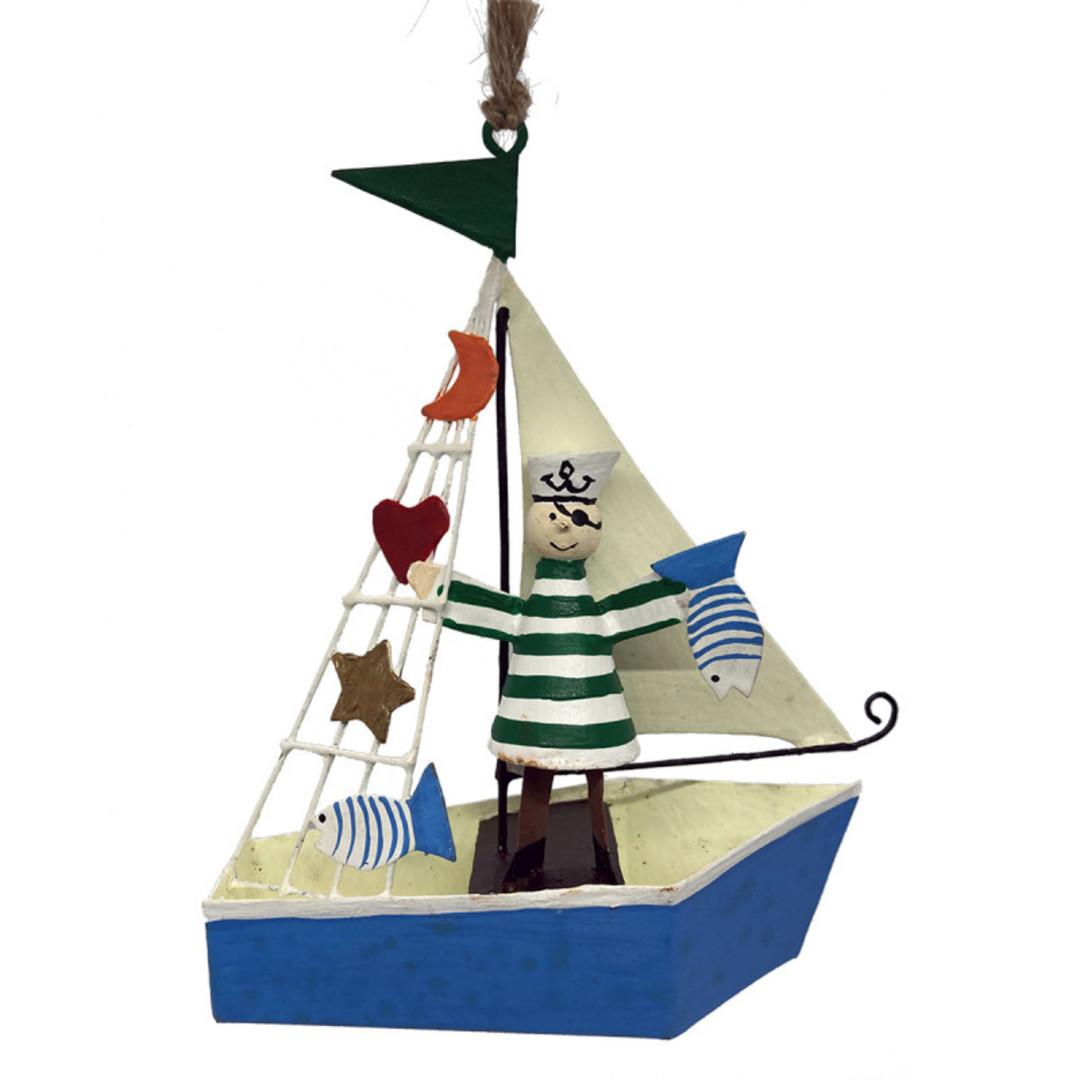 Tin Pirate Sailor on Sail Boat 12cm image 0