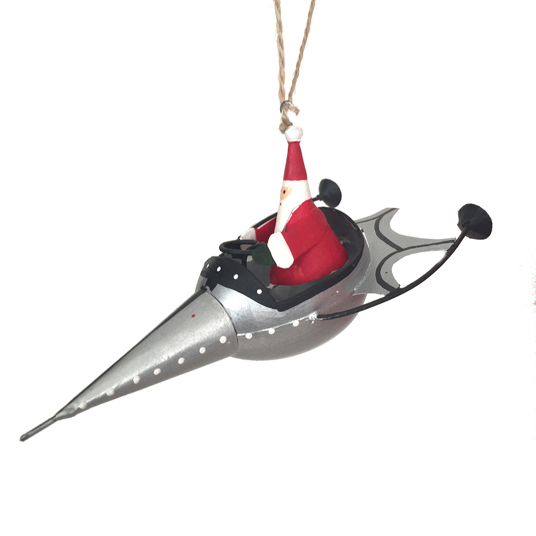 Santa in Silver Rocket image 0