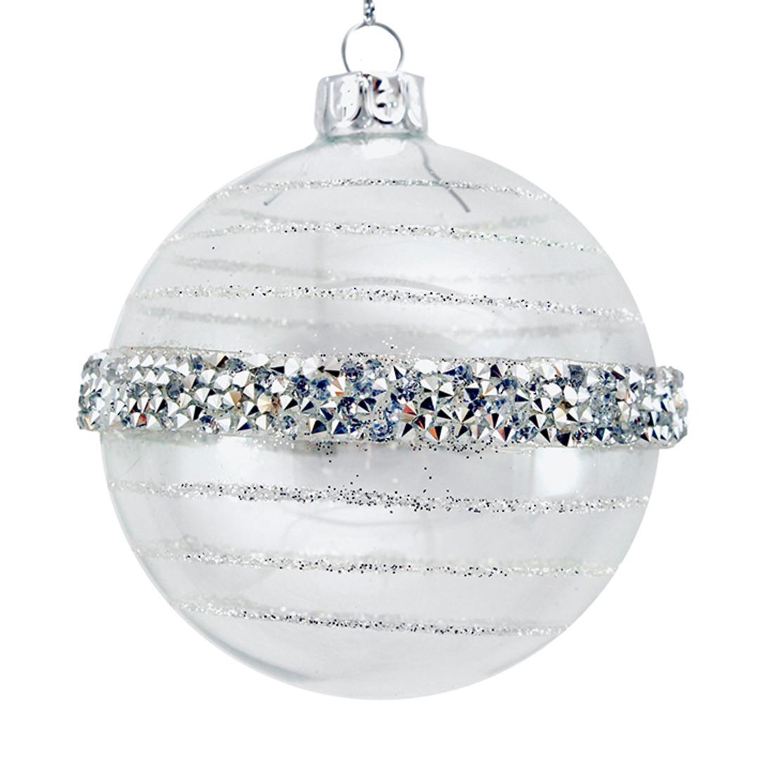 Glass Ball Clear, Silver Bead Orbit 8cm image 0