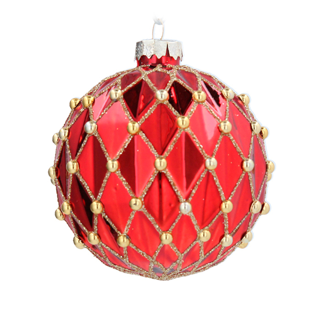 Glass Ball Red, Harlequin & Gold Bead 8cm image 0