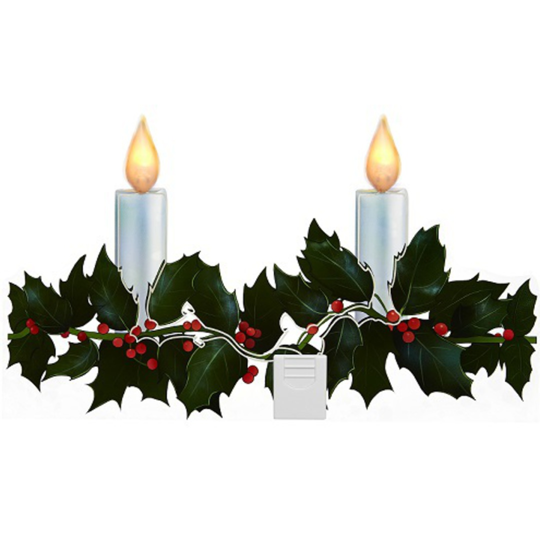 LED Flame Holly Garland Window Sticker Large image 0