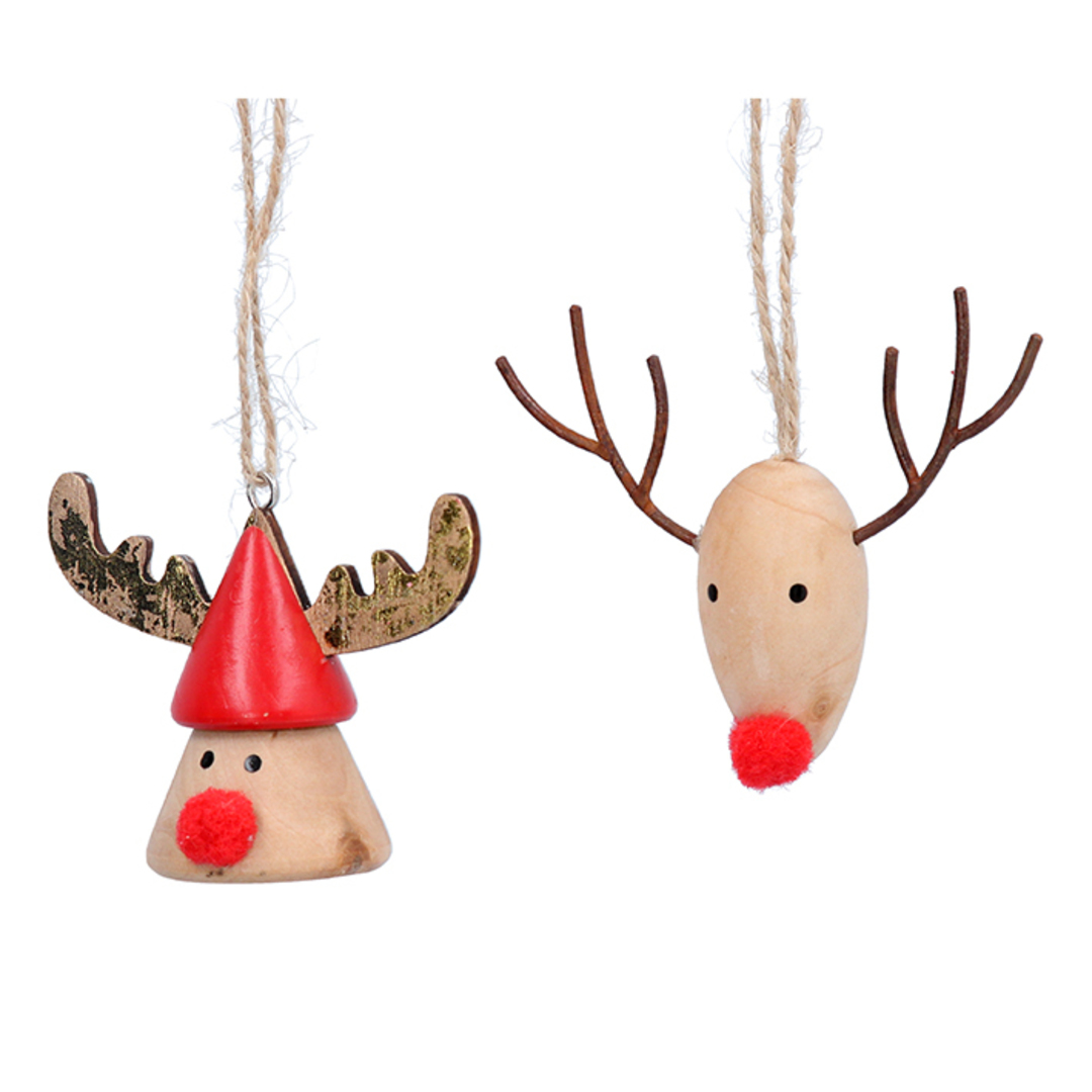 Wood Reindeer Head with Pom Pom Nose 7cm image 0