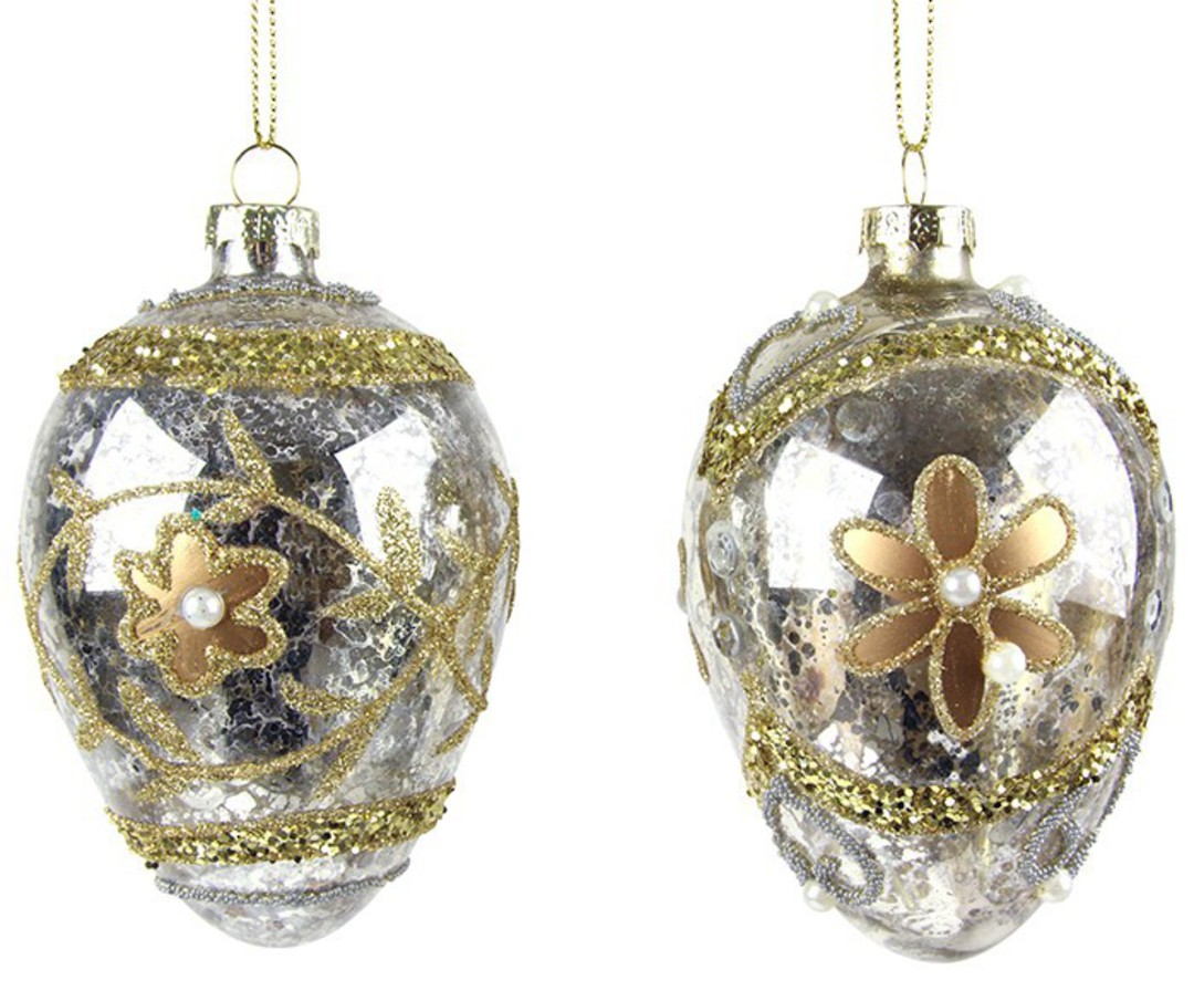 Glass Faberge Egg, Silver, Gold Flower 10cm image 0