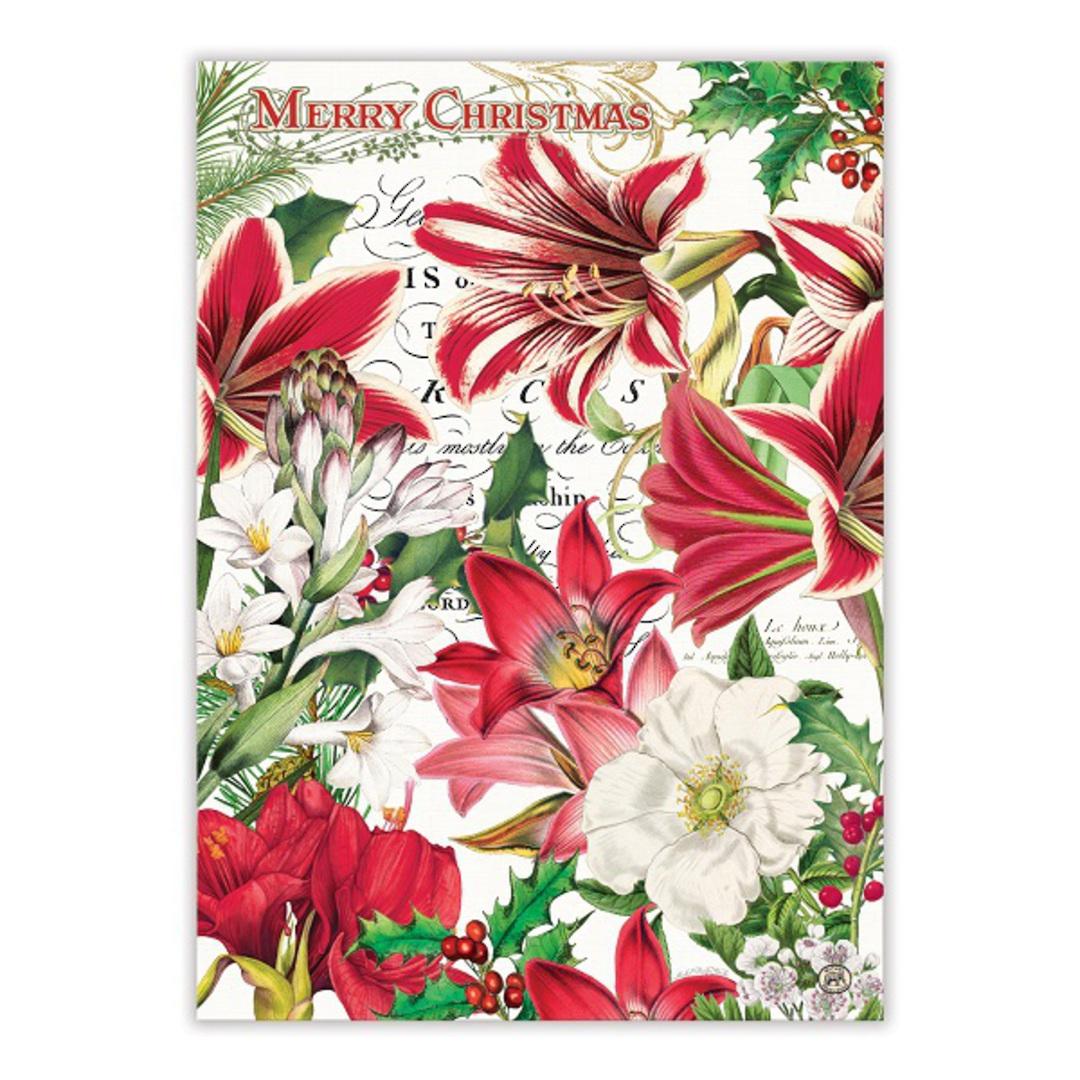 Merry Floral Christmas Tea Towel image 1