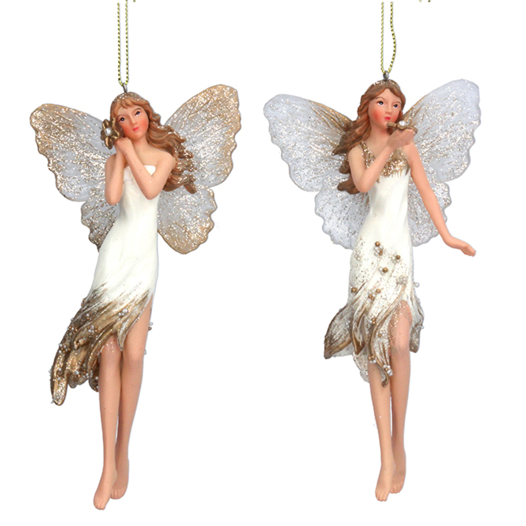 Resin Tall Cream and Gold Fairy with Flower 15cm image 0