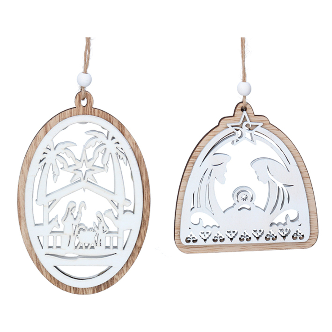 Natural and White Nativity Cut Out 14cm image 0