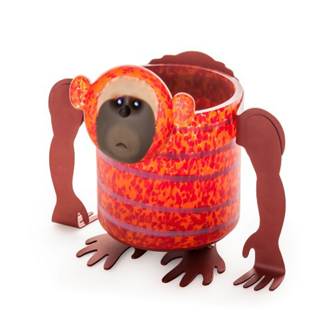 Artglass Chaco Monkey Planter. Red/Orange image 0
