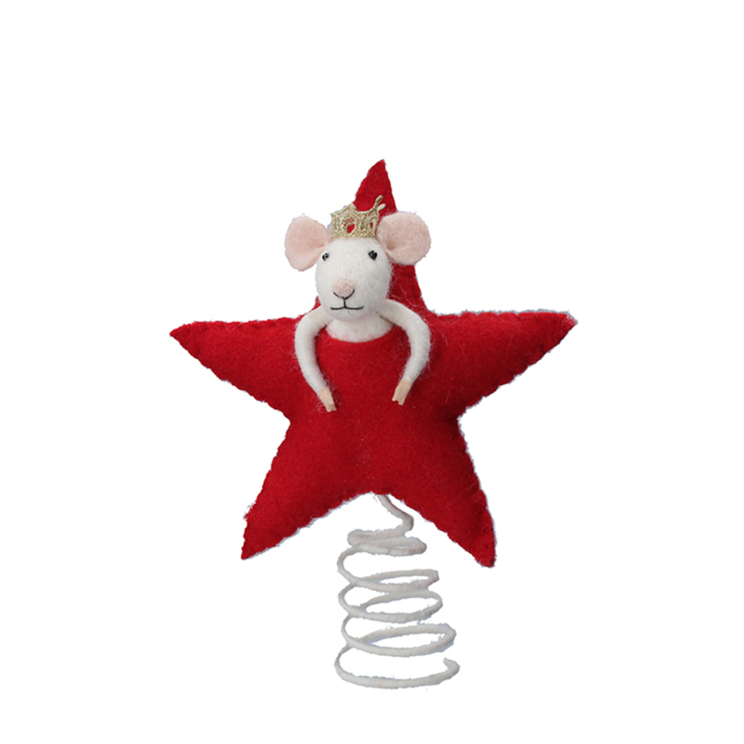 Wool Mouse Star Topper 10cm image 0