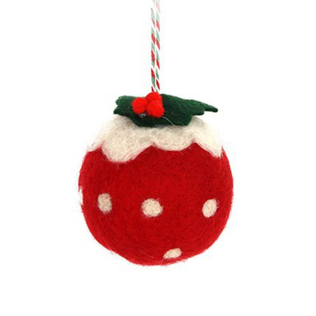 Wool Ball Red Christmas Pudding 6cm image 0