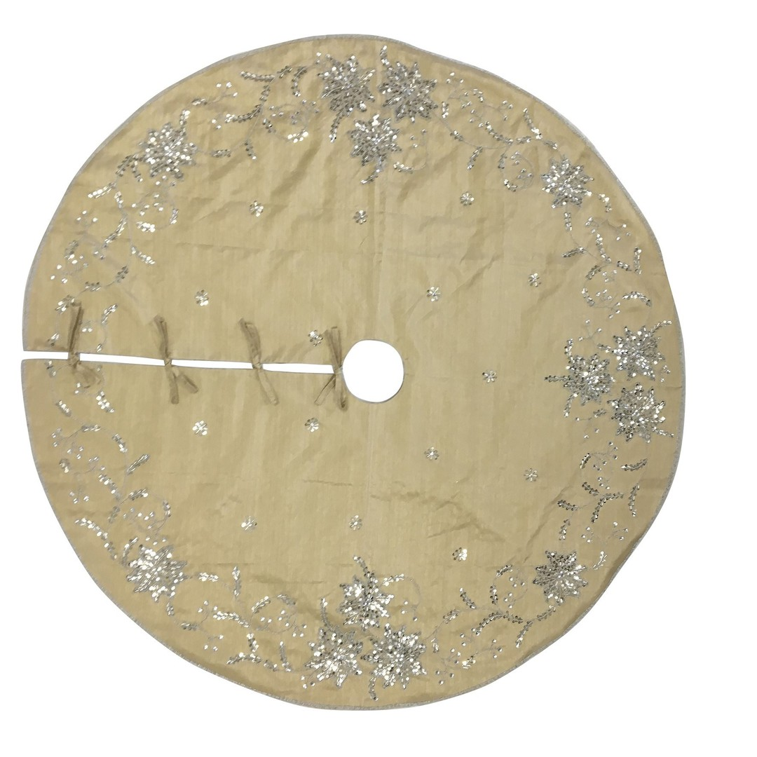 Xmas Tree Skirt, Silky Gold with Silver Sequins image 0