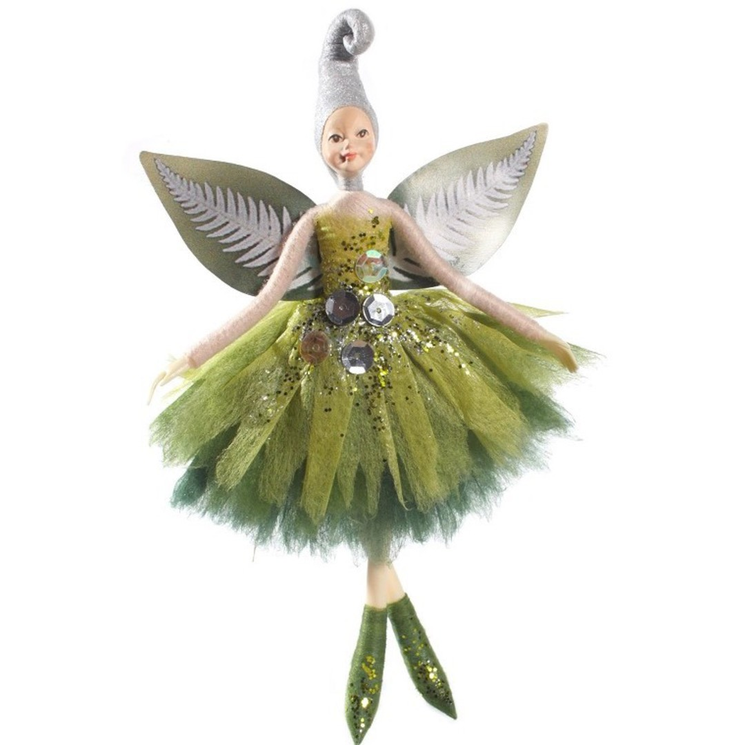 NZ Fairy, Green Silver Fern 13cm image 0