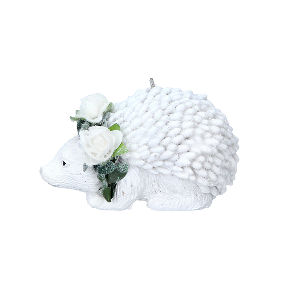 Resin White Flower Hedgehog 6cm image 0