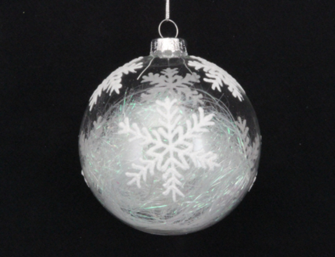 Glass Ball Clear, Snowflake with Threads Inside 8cm image 0
