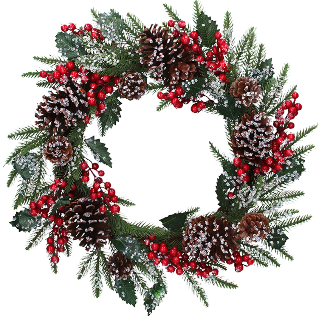 Icey Red Berry Pinecone Wreath 48cm image 0